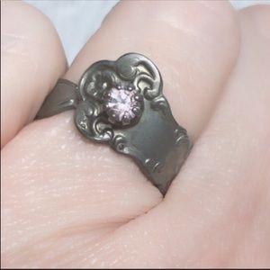 Tiny Vintage Spoon Ring adjustable Purple Stone